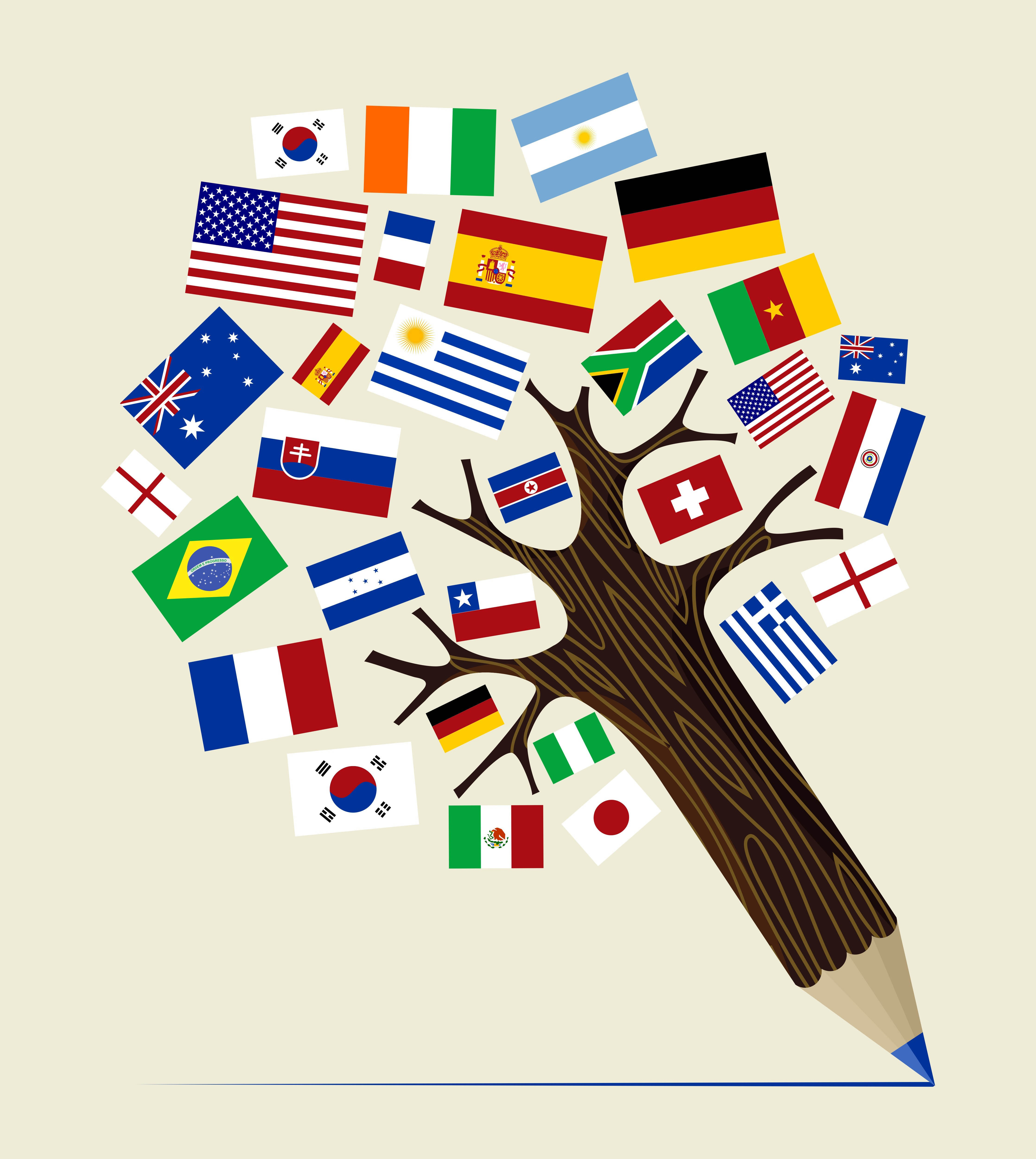 A picture of a pencil shaped like a tree with different flags