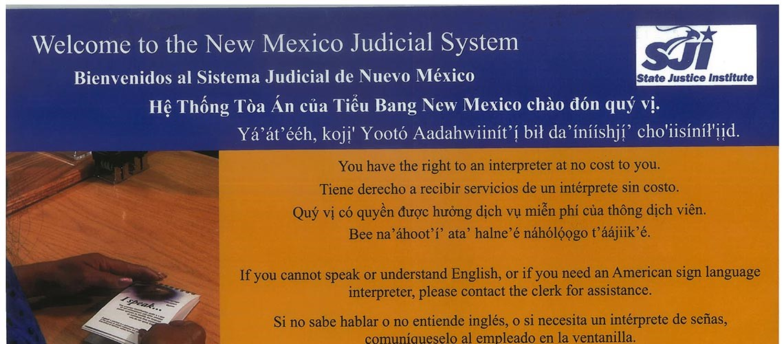 Welcome to the New Mexico Judicial System written in multiple languages