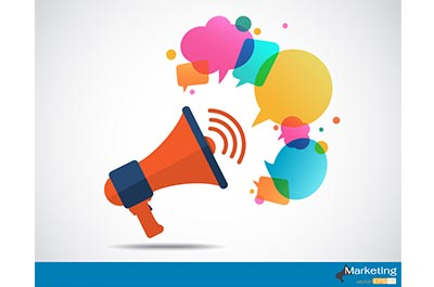 Megaphone with cloud of colorful speech bubble
